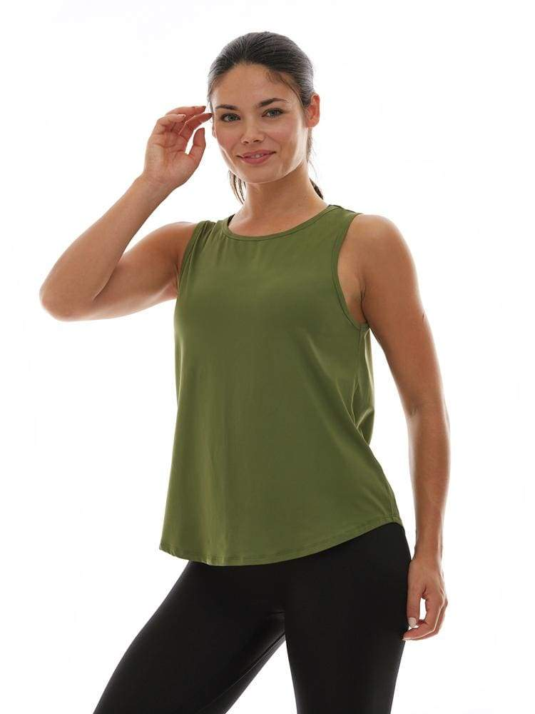 Microflex Muscle Tank in Olive - TRICOTS TOPS