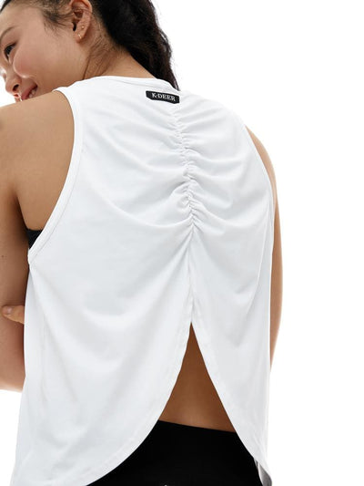 Microflex Ruched Back Tank in White