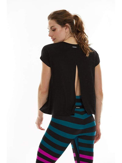 Microflex Split Back Tee - XS / Black - TRICOTS TOPS