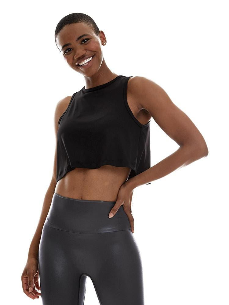 Microflex T-Back Crop Top in Black