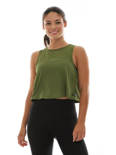 Microflex V-Back Crop Top in Olive - TRICOTS TOPS