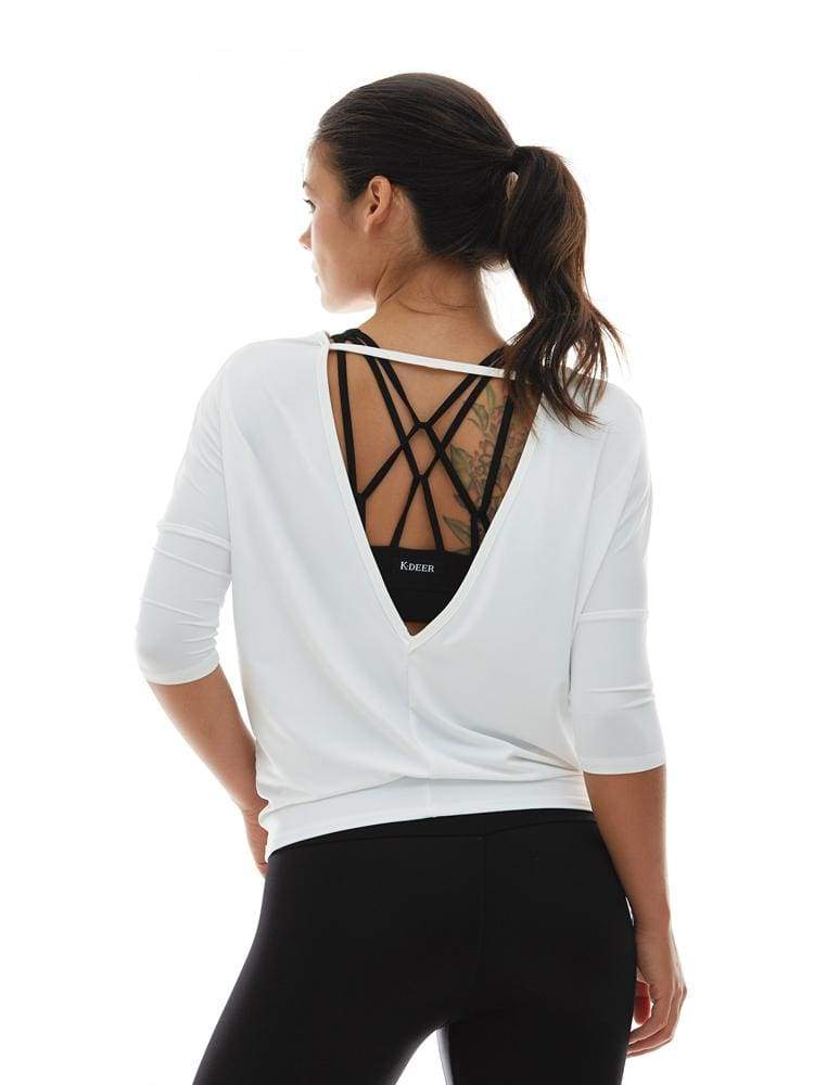 Microflex V-Back Pullover in White - TRICOTS TOPS
