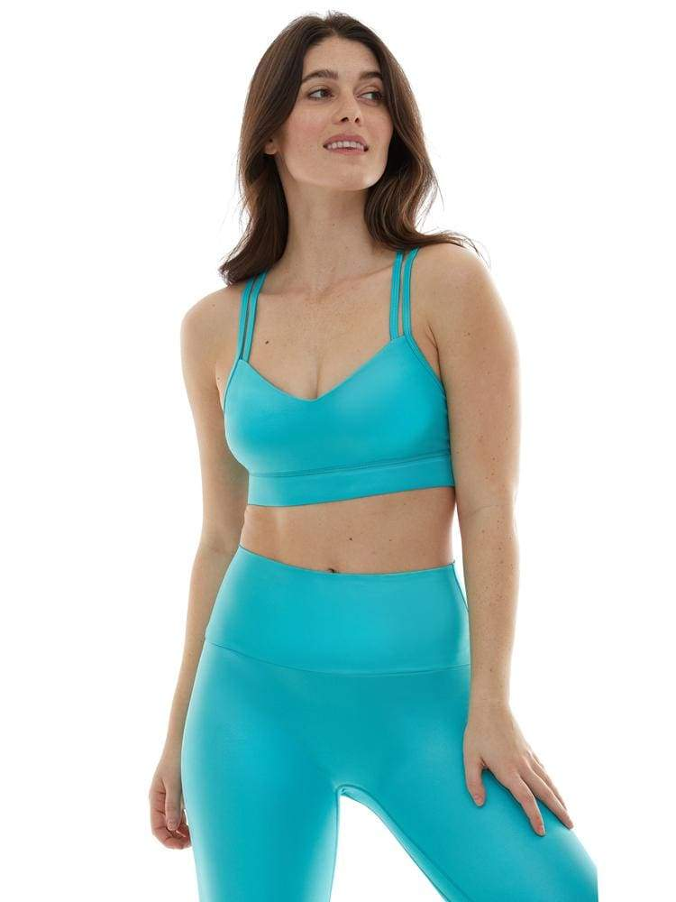 Polished Criss Cross Sports Bra in Aqua