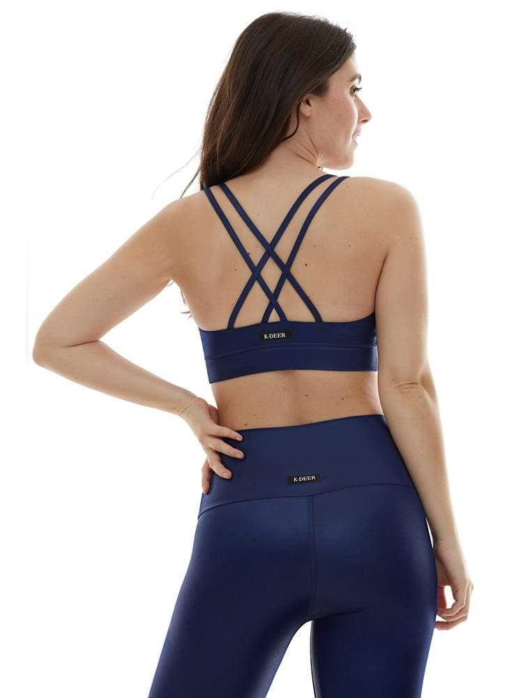 Polished Criss Cross Sports Bra in Navy