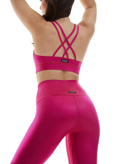 Polished Criss Cross Sports Bra in Raspberry