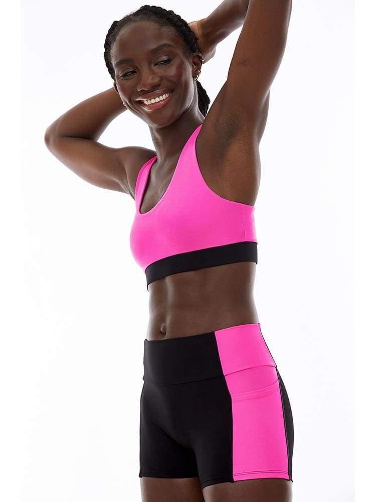 Reversible Racerback Bra in Hot Pink/Black