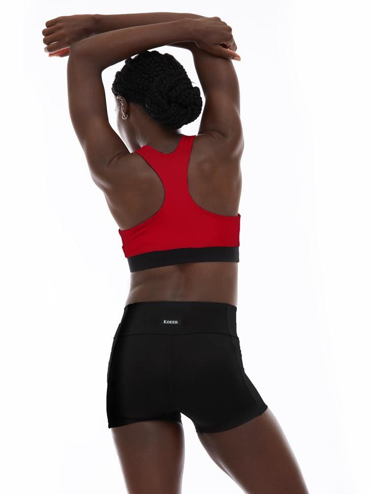 Reversible Racerback Bra in Scarlet/Black
