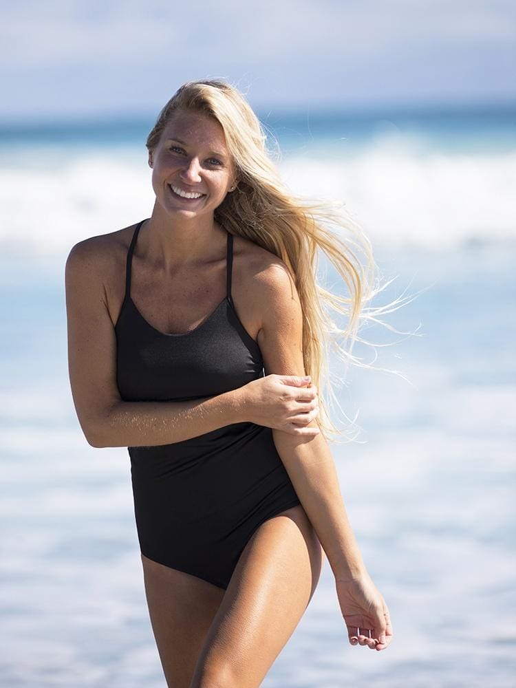 Scoop Back One Piece Swimsuit in Black - RELAXED TANK