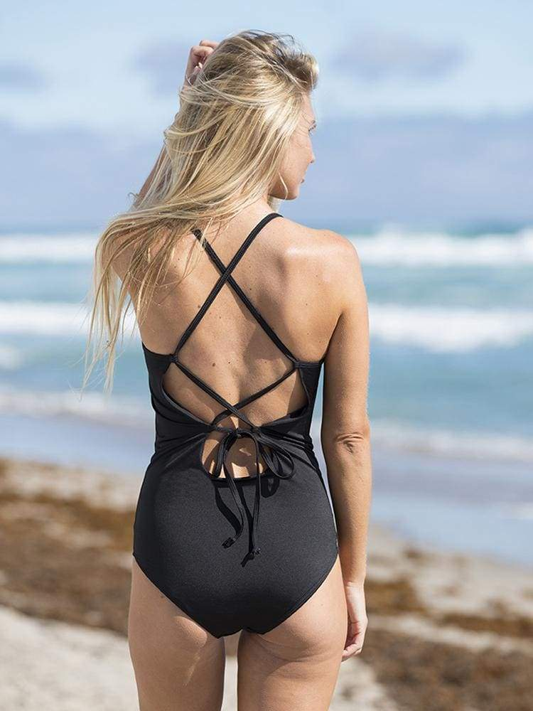 Scoop Back One Piece Swimsuit in Black