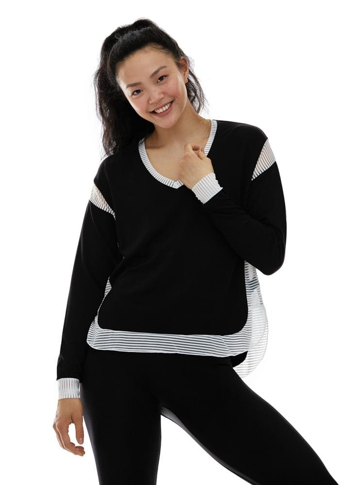Sheer Stripe Sweatshirt in Black - Sweatshirt