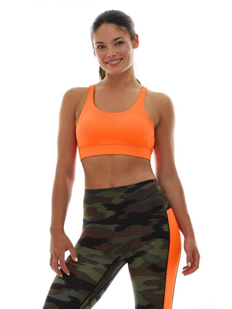 Triple Loop Sports Bra in Hot Orange - BRA TOP