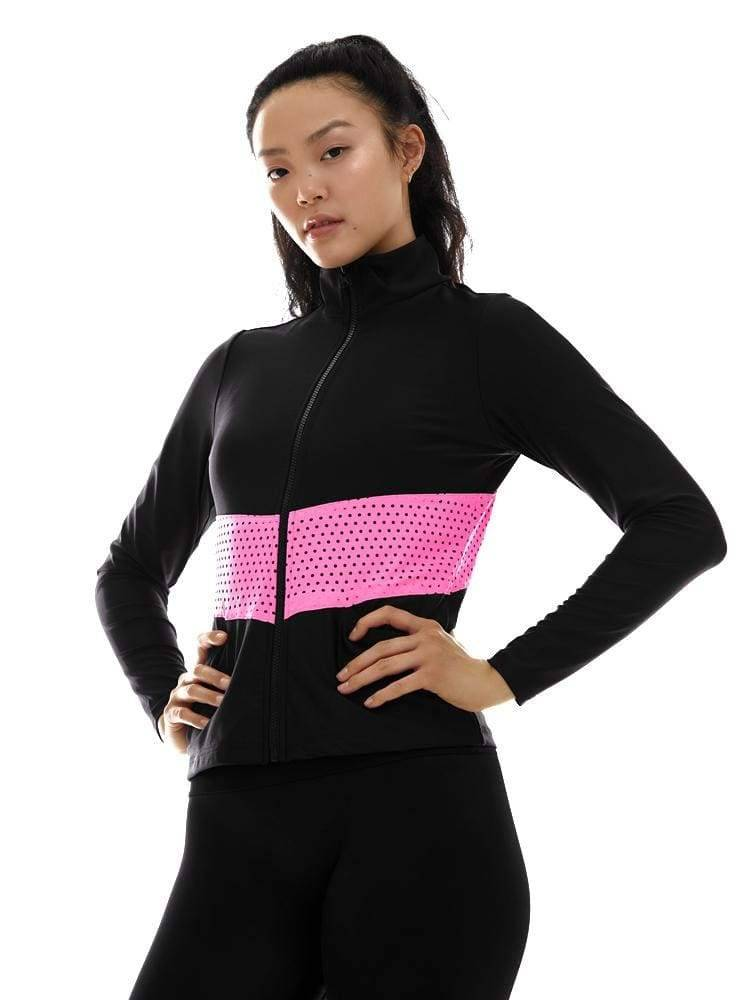 Zip Up Jacket in Black/Pink