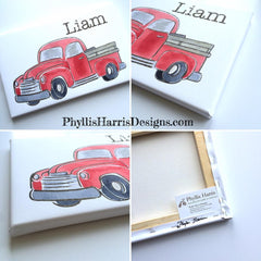 Customizable Old Red Pickup Truck for Little Boys room or nursery