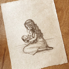 Newborn Baby and Mother - Sketch on Handmade Paper