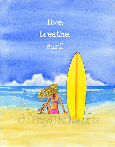 Live. Breathe. Surf. - Wall art for Surfer Girls