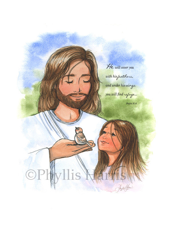 Jesus and the sparrow and little girl - Christian Children's Art Print - Available with or without Scripture
