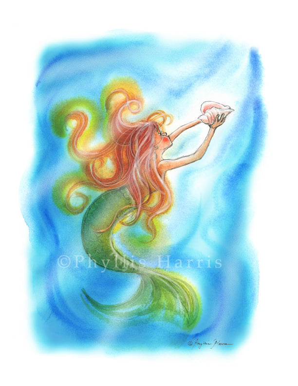 Mermaid Wall Art - Magical Mermaid with conch shell
