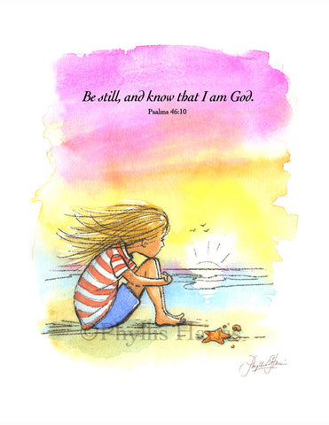 Inspirational Wall Art - Be still and know that I am God - Sunset at the beach wall art