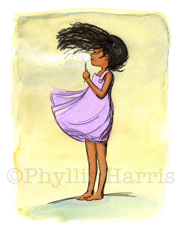 African American Dandelion Girl Wall Art - Purple or Lavender Children's Room Decor