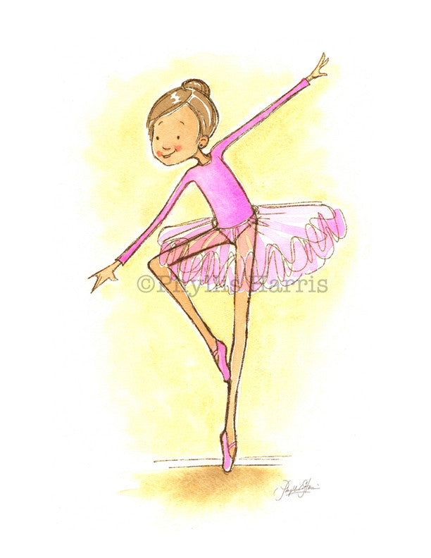 Ballerina art print -Children's wall art - girl's pink decor