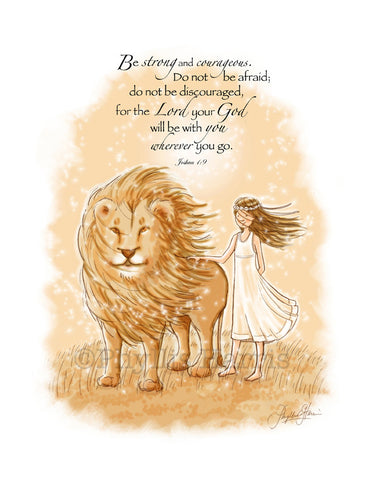 Wall Art - Be Strong and Courageous Wall Art for Girls - Nursery wall art