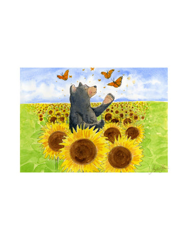 Bears and Butterflies and Sunflowers, too - Wall art
