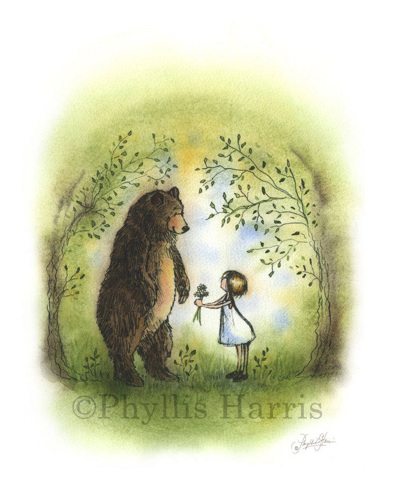 Bear and little girl in the woods - Kindness Matters - Be Kind