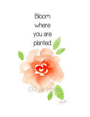 Bloom where you are planted wall art print - Art for gardeners - Watercolor Rose