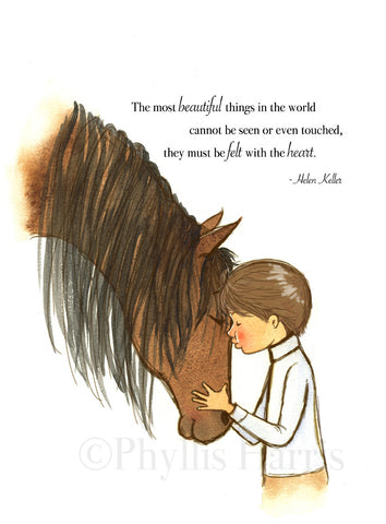 Horse Wall Art for Boys - Horse and Boy Embrace