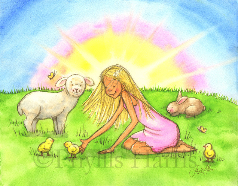 Spring chicks, bunny and lamb wall art - children's room decor- Customizable Hair Color