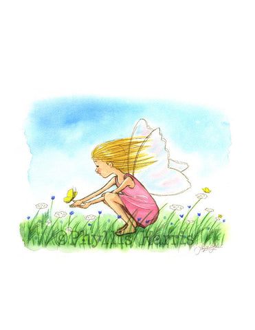 Girl's Room Wall Art - Fairy Spreading Joy and Hope - Nursery Wall Art