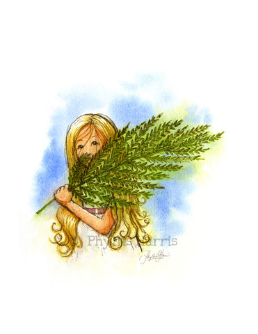 Vintage Inspired Fern Girl wall art - Classic vintage children's decor