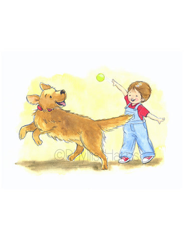 Little Boy And Golden Retriever Play Fetch - Boy's wall art