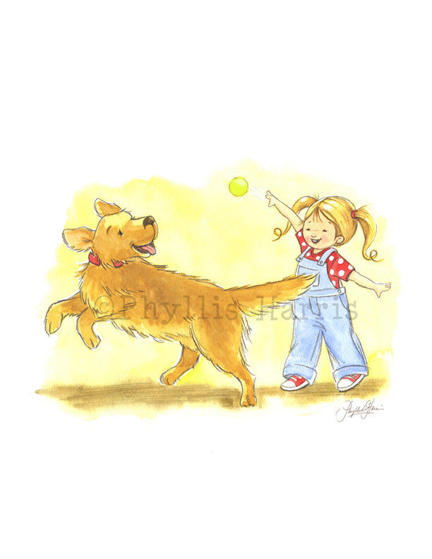 Playing Fetch - Golden retriever and little girl