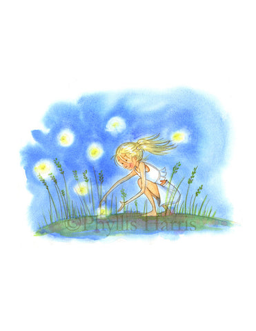 The Essence Of Summer- Catching Fireflies - Children's Wall Art