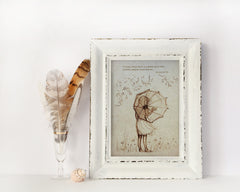 Vintage Style Umbrella Girl Sketch - Sketches on handmade paper - With or Without Text