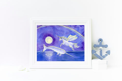 Narwhal and Unicorn Wall Art Print