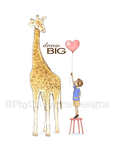 Giraffe and Little Boy - Children's Room Décor - Nursery Wall Art for Boys