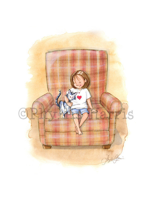 Lean on Me - Little Girl with Cat illustration - Girl's room decor