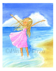 My Happy Place is at the Beach - Wall Art - Customizable Hair and Dress color