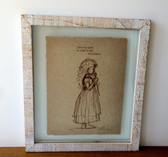 Little Girl smelling a rose - Vintage style sketches on handmade paper - With or Without Text