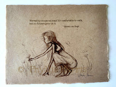 Girl Picking Flowers - Vintage style sketches on handmade paper - With or Without Text