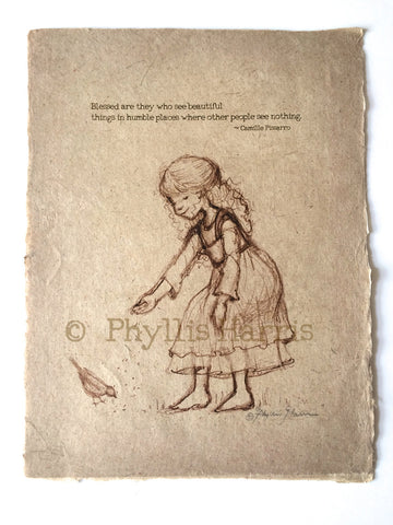 Girl feeding birds - Vintage style sketches on handmade paper - With or Without Text