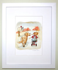 Golden Retriever And Little Girl On Tricycle Wall Art