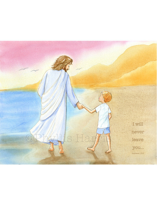 Jesus and little boy walking on the beach - Inspirational Wall Art