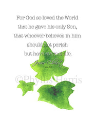 Christian Wall Art - John 3:16 with ivy leaves wall art print