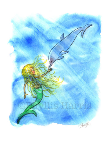 Mermaid and Dolphin Art Print - Children's Wall Art