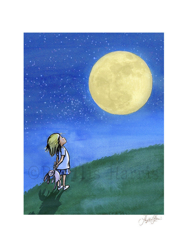 Little Girl And The Man In The Moon - Girl's Wall Art