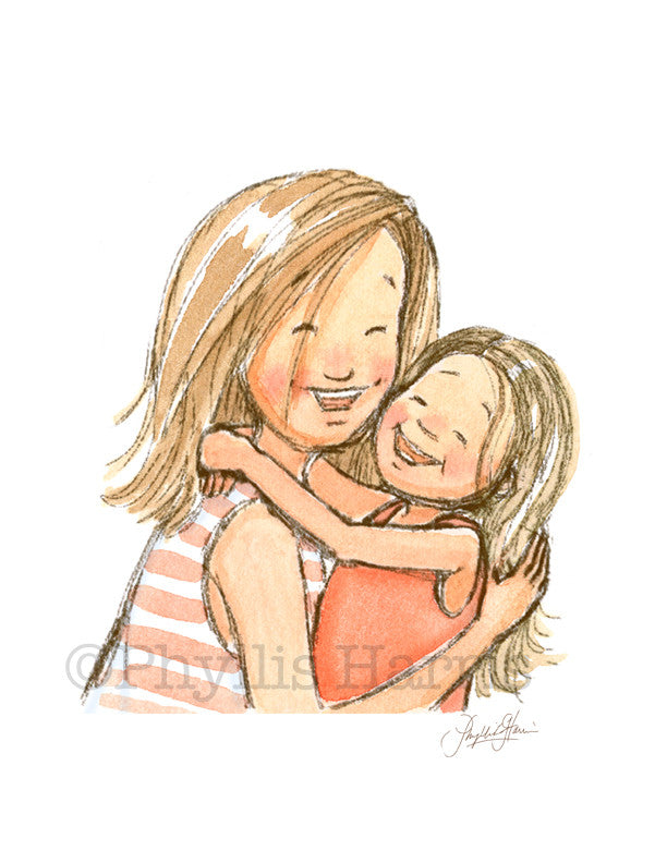 Mother and Daughter embrace - Wall Art - Love between a daughter and their mother