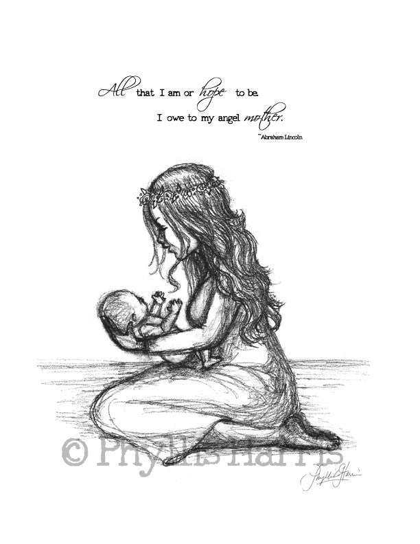 Mother and child wall art print - Gift for Mothers